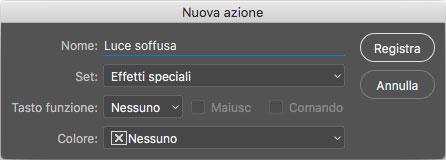 Figura 2: tramite la finestra Nuova azione è possibile impostare il nome, la posizione, la combinazione di tasti e infine il colore per una nuova azione