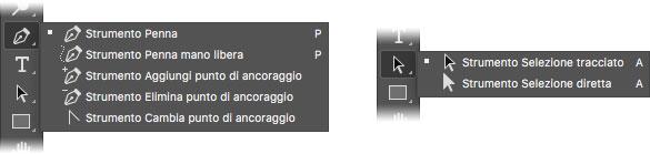 Figura 2:gli strumenti vettoriali disponibili nella palette degli strumenti