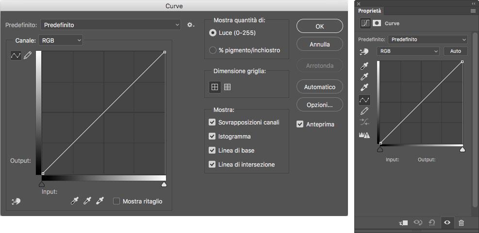 Figura 1: le due modalità di accesso alle Curve: a sinistra la finestra e a destra la palette Proprietà con le opzioni per le curve