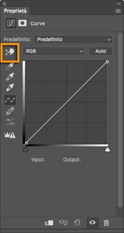 Figura 3: lo strumento evidenziato, se trascinato sull'immagine, modifica la curva