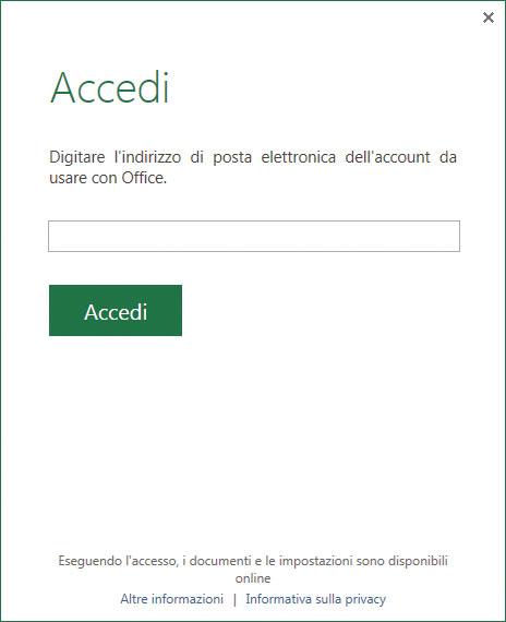 Figura 1: accedere a un nuovo account Microsoft