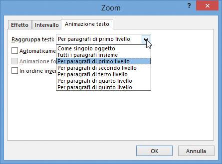 Figura 2: opzioni di animazione del testo