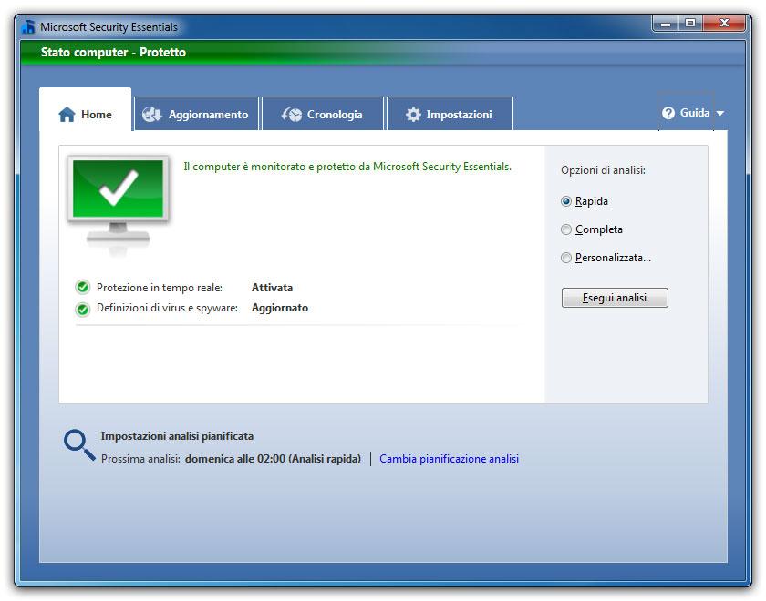 Figura 3: Security Essentials è l'antivirus gratuito di Microsoft