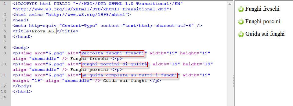 Figura 2: elenco puntato con immagini con l'utilizzo dell'attributo alt per rafforzare la presenza delle keyword