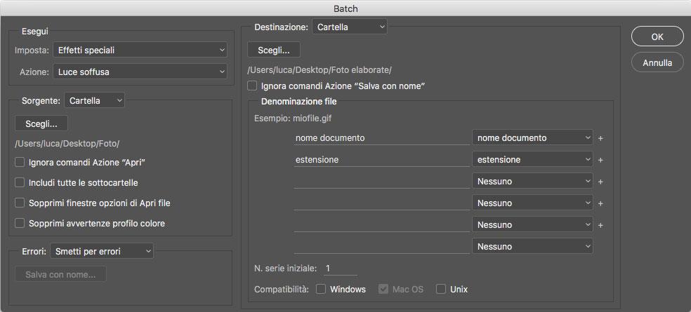 Figura 8:la finestra Batch, tramite la quale è possibile applicare un'azione registrata a molte immagini senza nessun intervento umano
