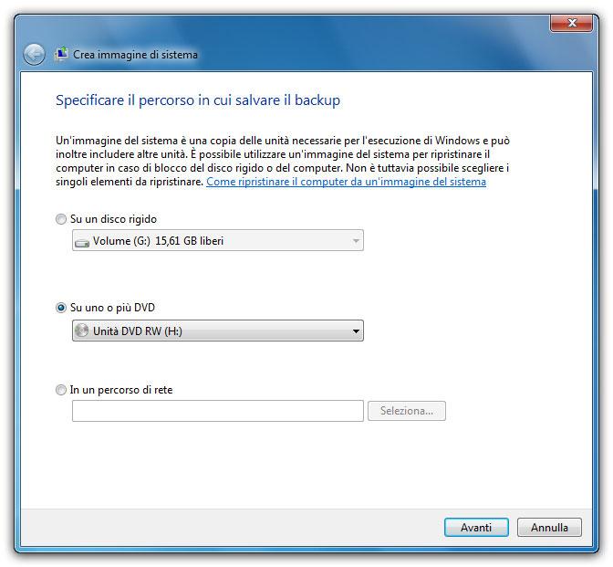 Figura 4: anche con il backup di sistema è necessario specificare il percorso in cui salvare i file