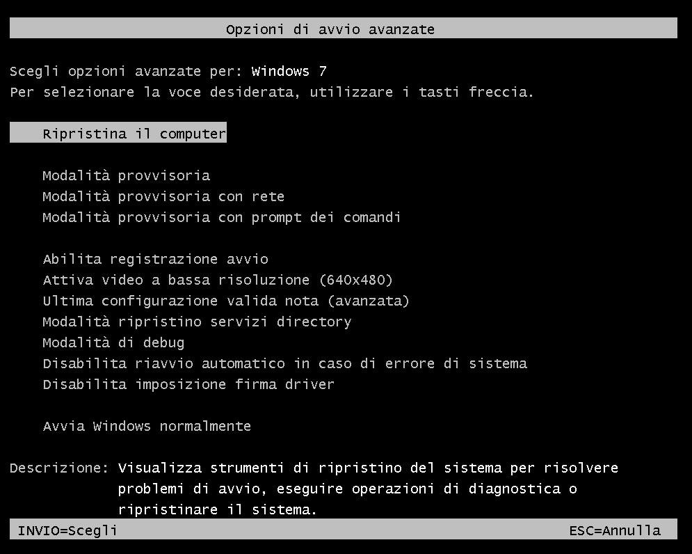 Figura 6: le opzioni avanzate di avvio consentono, tra l'altro, di ripristinare un backup di sistema
