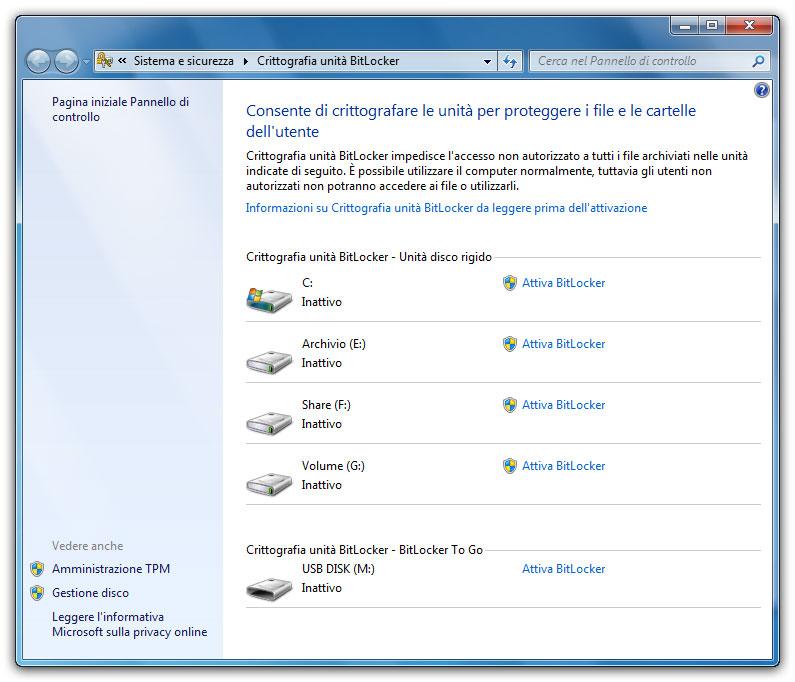 Figura 1: la finestra di attivazione e gestione delle unità crittografate con Bitlocker