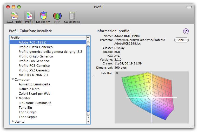Figura 7: l'utility ColorSync su Mac OS X 10.6