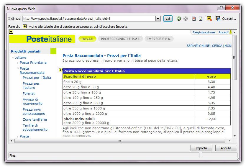 Figura 11: scegliere la pagina Web da cui importare i dati