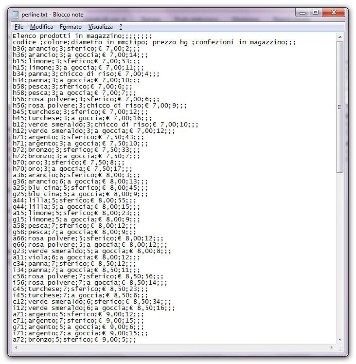 Figura 4: un file di testo delimitato