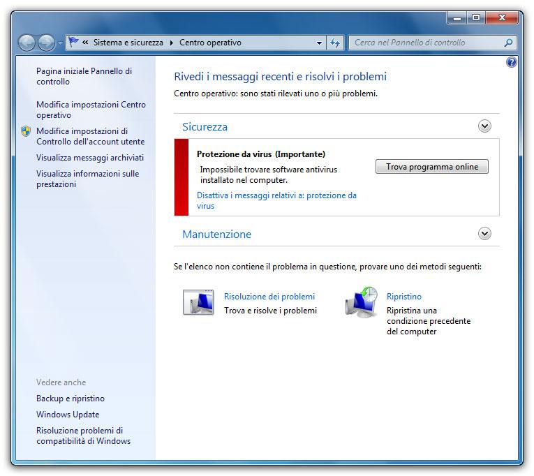 Figura 1: il Centro operativo mostra messaggi chiari sullo stato di sicurezza e manutenzione del PC