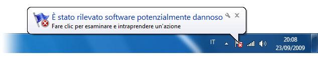 Figura 2: il Centro operativo mostra, tra le altre cose, anche gli avvisi su virus e spyware