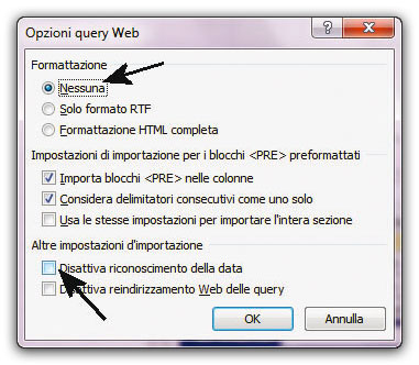 Figura 7: la finestra Opzioni query web