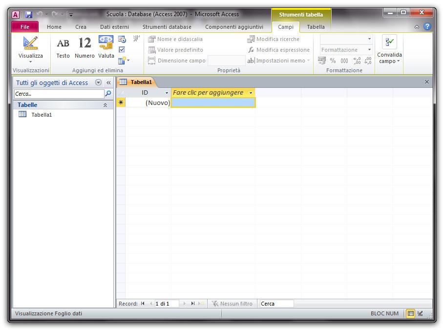Figura 1: il database vuoto