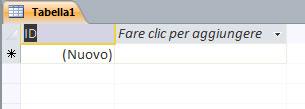 Figura 2: modificare il nome di un campo in visualizzazione Foglio dati