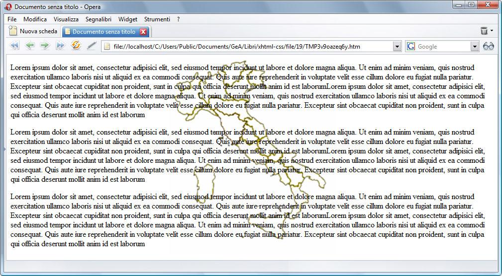 Figura 3: la pagina ha un'immagine di sfondo al centro non ripetuta