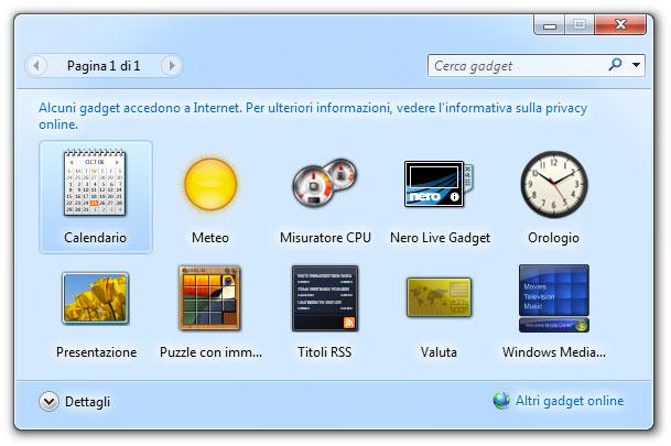 Figura 12: la finestra con i Gadget disponibili