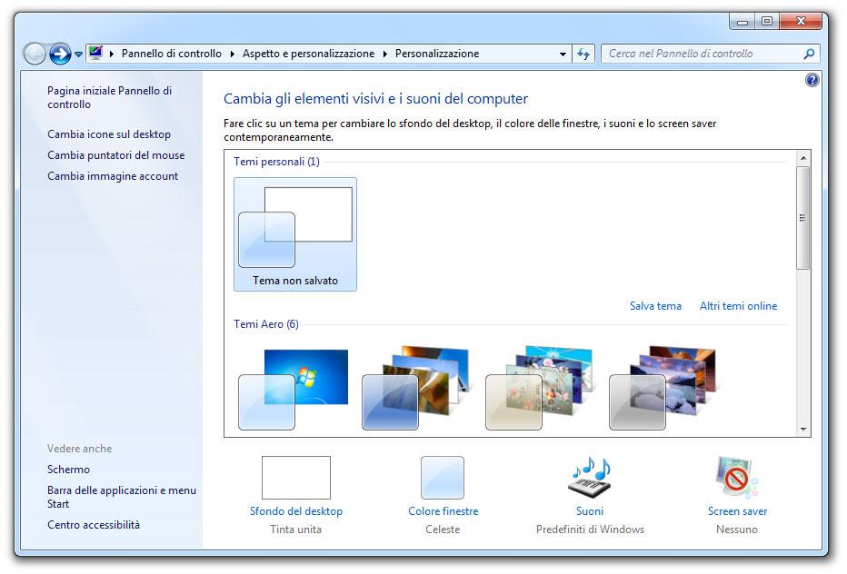 Figura 14: la finestra di personalizzazione dell'aspetto di Windows 7