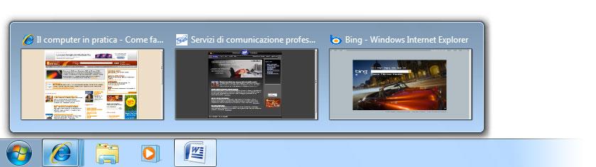 Figura 5: la finestra di Internet Explorer contiene più schede e sono immediatamente accessibili tramite le anteprime