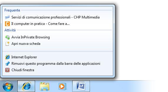 Figura 6: la Jump List che appare facendo clic sopra nella barra delle applicazioni, con il tasto destro del mouse