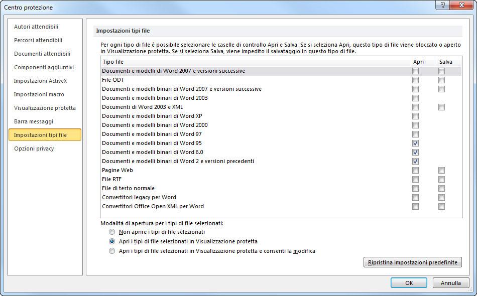 Figura 5: la sezione Impostazione tipo di file della finestra Centro protezione