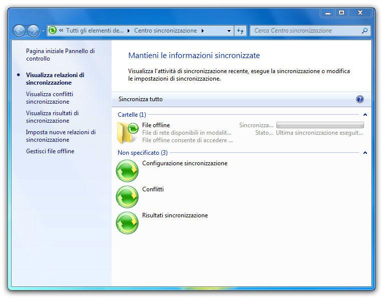 Figura 6: il Centro sincronizzazione consente di gestire i file offline e le opzioni di sincronizzazione