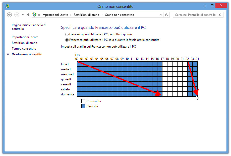 Figura 7: limitazione degli orari di impiego del computer