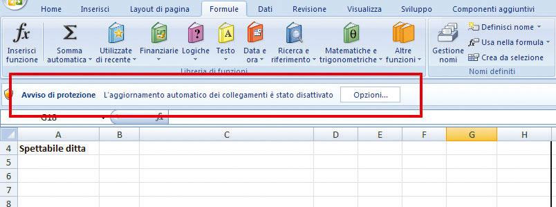 Figura 12: Excel 2007 indica che il file accede a dati esterni