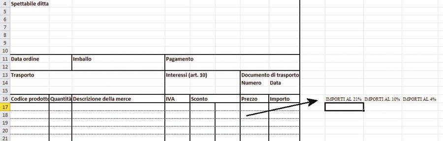 Figura 2: le colonne di appoggio per il calcolo dell'importo complessivo cui applicare ciascuna aliquota IVA