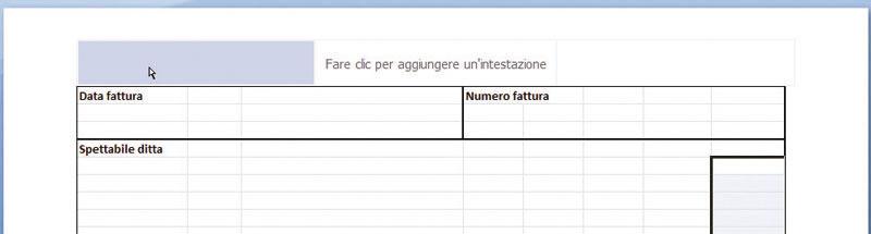 Figura 4: inserire un'intestazione di pagina con Excel 2007-2010