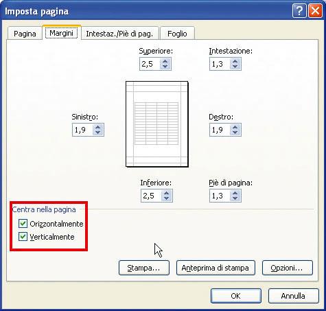 Figura 7: la finestra Imposta pagina, alla scheda Margini