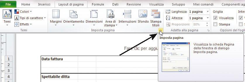 Figura 8: aprire la finestra di dialogo Imposta pagina in Excel 2007-2010