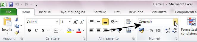 Figura 1: l'elenco a discesa Formato numero, del gruppo Numeri della scheda Home