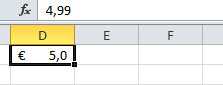 Figura 5: nella barra della formula il numero non formattato