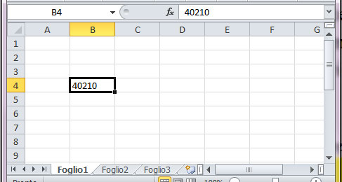 Figura 9: il formato frazione applicato a un dato interpretato come una data e mostrato come un numero seriale