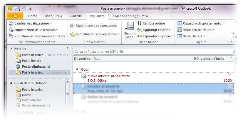 Figura 3: la formattazione condizionale ha effetto anche sui messaggi già presenti nella posta