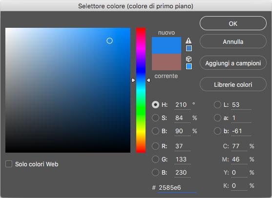 Figura 1: scelta del colore in Adobe Photoshop