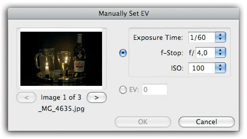 Figura 10: impostazione manuale degli f-stop o EV nel caso di importazione di versioni JPEG