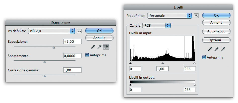 Figura 7: usate le funzioni Esposizione e Livelli prima di convertire l'immagine a 16 o a 8 bit