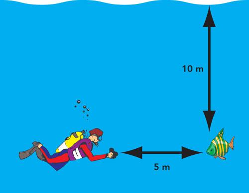 Figura 4: la distanza percorsa dalla luce è la somma della distanza tra soggetto e superficie e tra macchina fotografica e soggetto