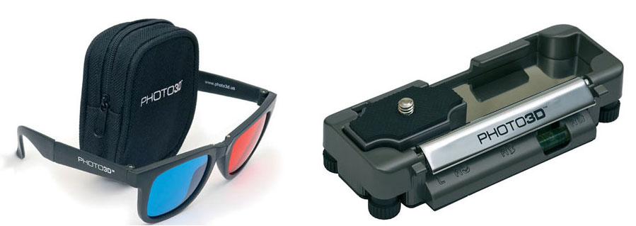Figura 2: alcuni dei componenti del Mission 3D KIT-303: a sinistra, gli occhiali con lenti rossa e blu; a destra, la staffa per il corretto posizionamento della macchina in riprese di soggetti statici