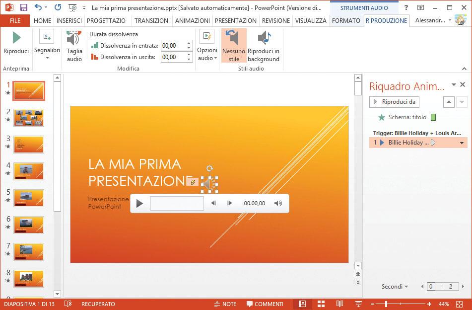 Figura 2: nella diapositiva è stato inserito un file audio
