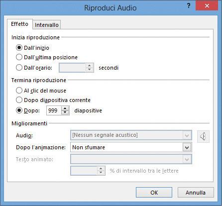 Figura 4: le opzioni dell'effetto audio