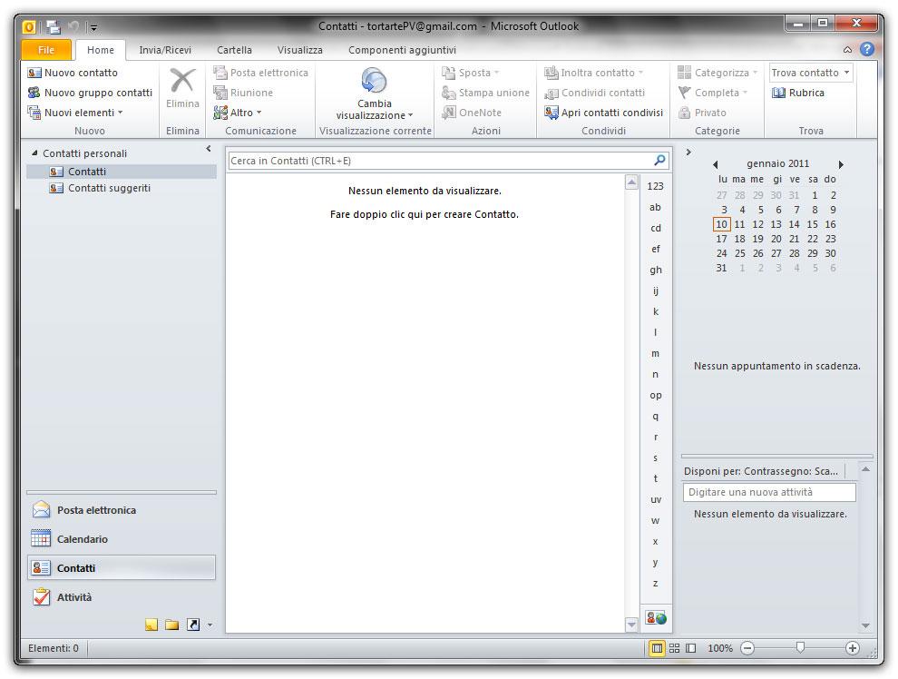 Figura 1: la sezione Contatti di Outlook