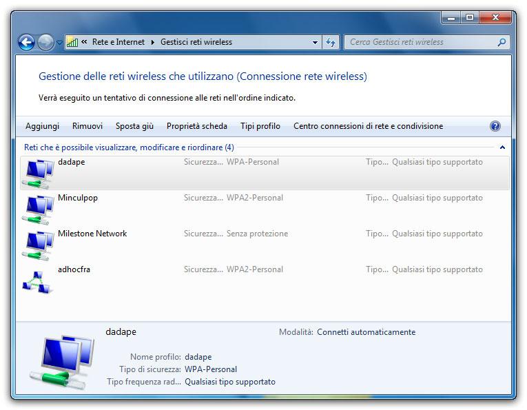 Figura 4: la finestra Gestisci reti wireless permette di controllare le reti wireless salvate dagli utenti