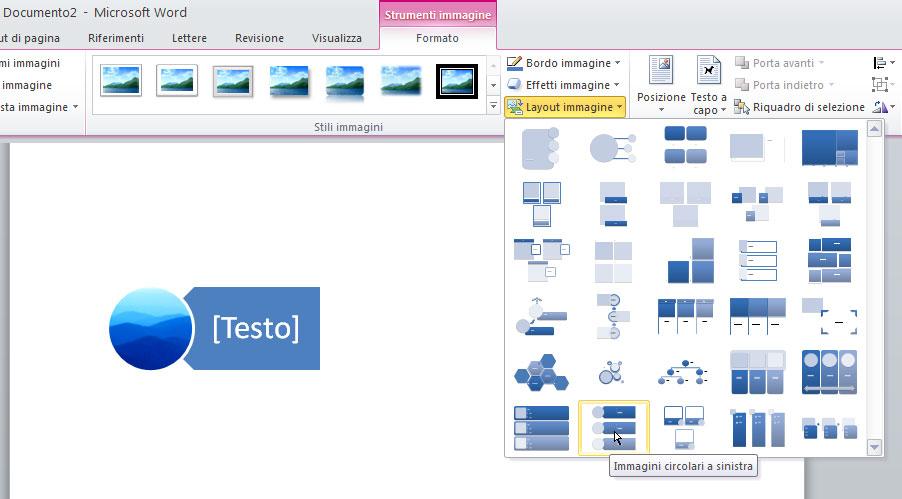 """Figura 10: una immagine come """"forma"""" per lo SmartArt"""