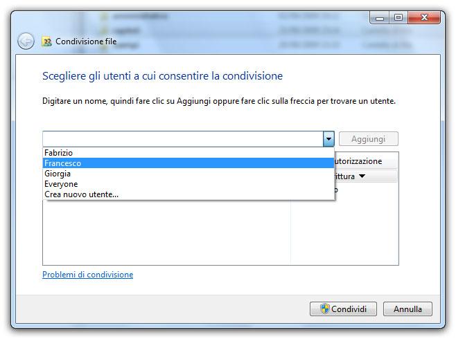 Figura 1: gli utenti presenti nel computer sono visibili nel menu a comparsa della finestra di condivisione dei file