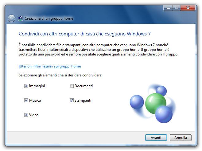 Figura 2: si possono condividere le raccolte di Windows 7 e le stampanti