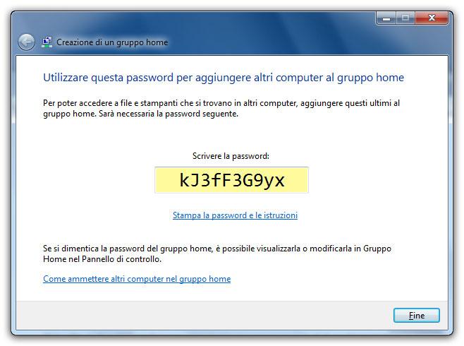 Figura 3: ogni Gruppo home è protetto da una password per evitare connessioni indesiderate